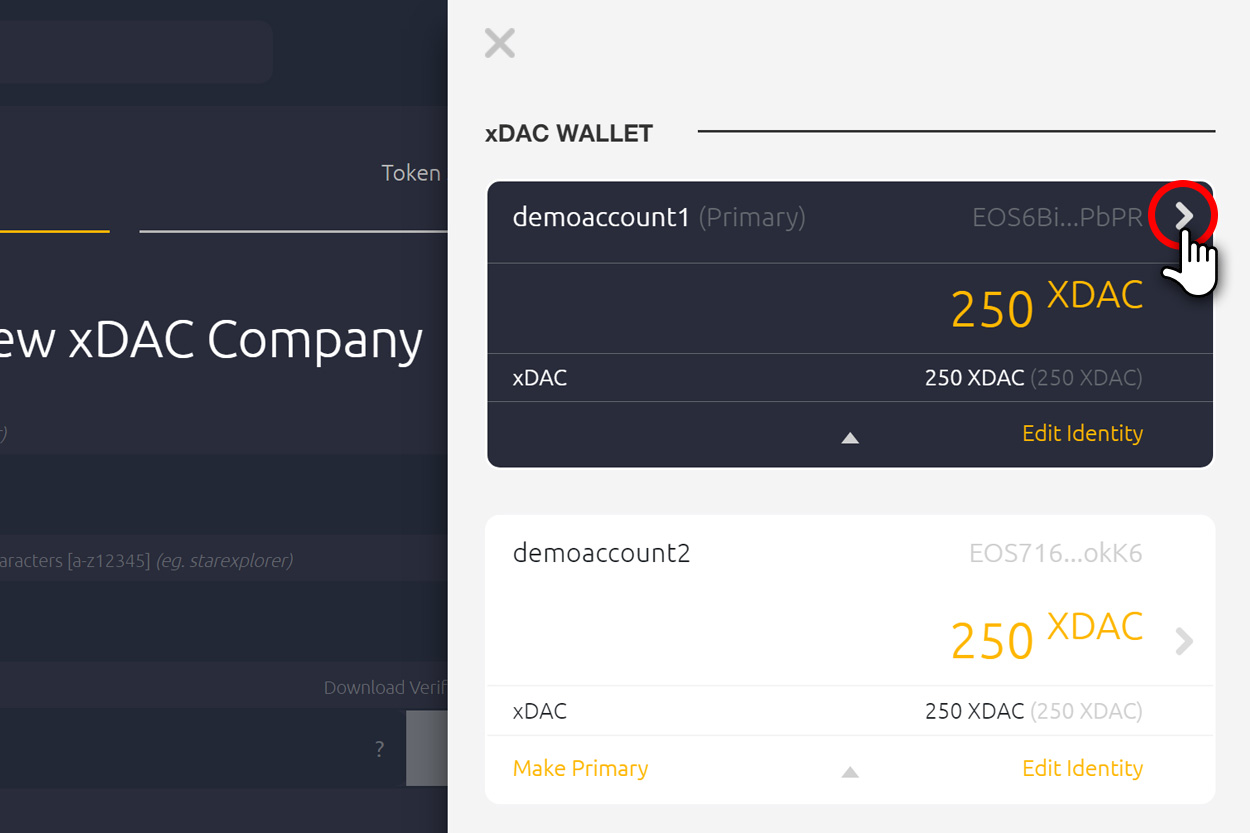 xDAC wallet send button