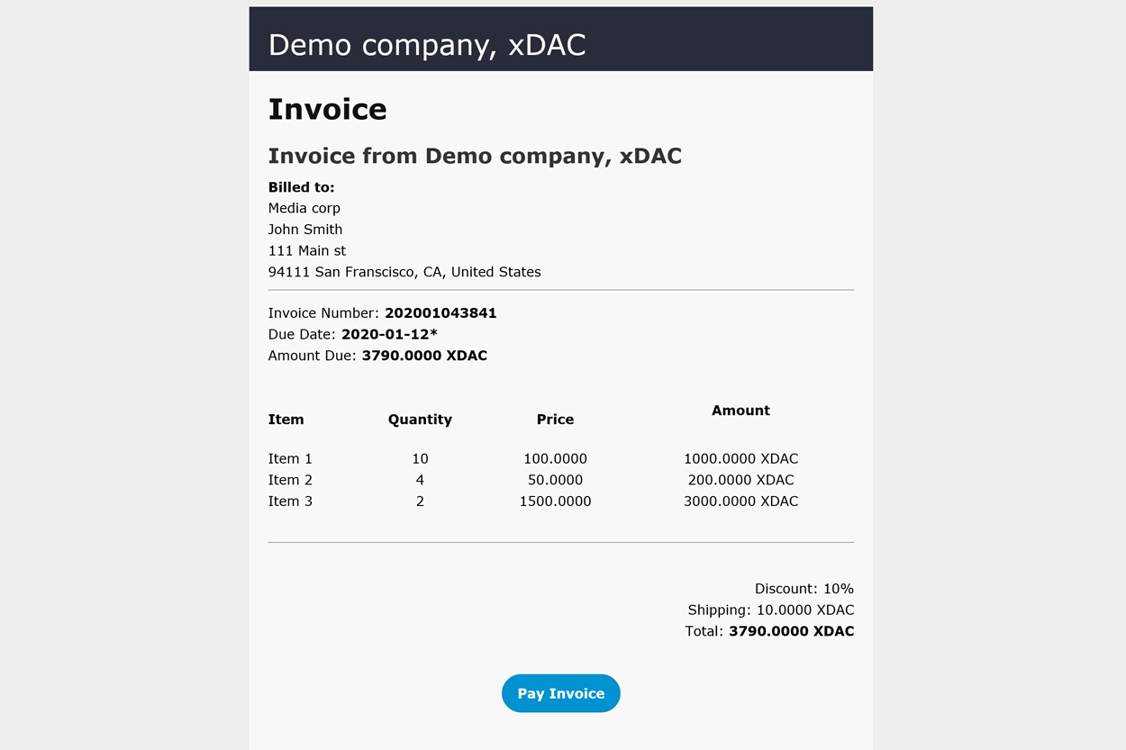 xDAC finances email invoice